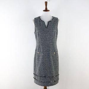 Karl Lagerfeld Black White Tweed Sheath Dress